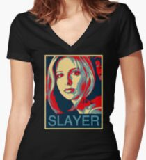 Buffy the Vampire Slayer - Obama Poster Women's Fitted V-Neck T-Shirt