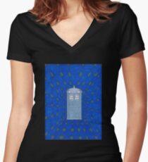TARDIS in Flight Women's Fitted V-Neck T-Shirt