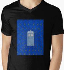 TARDIS in Flight Men's V-Neck T-Shirt