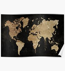 Gold World Map Poster
