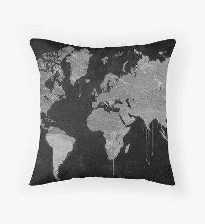 Silver and Black World Map Throw Pillow