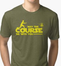 """Exclusive Disc Golf """"May The Course Be With You"""" T-Shirt Tri-blend T-Shirt"""