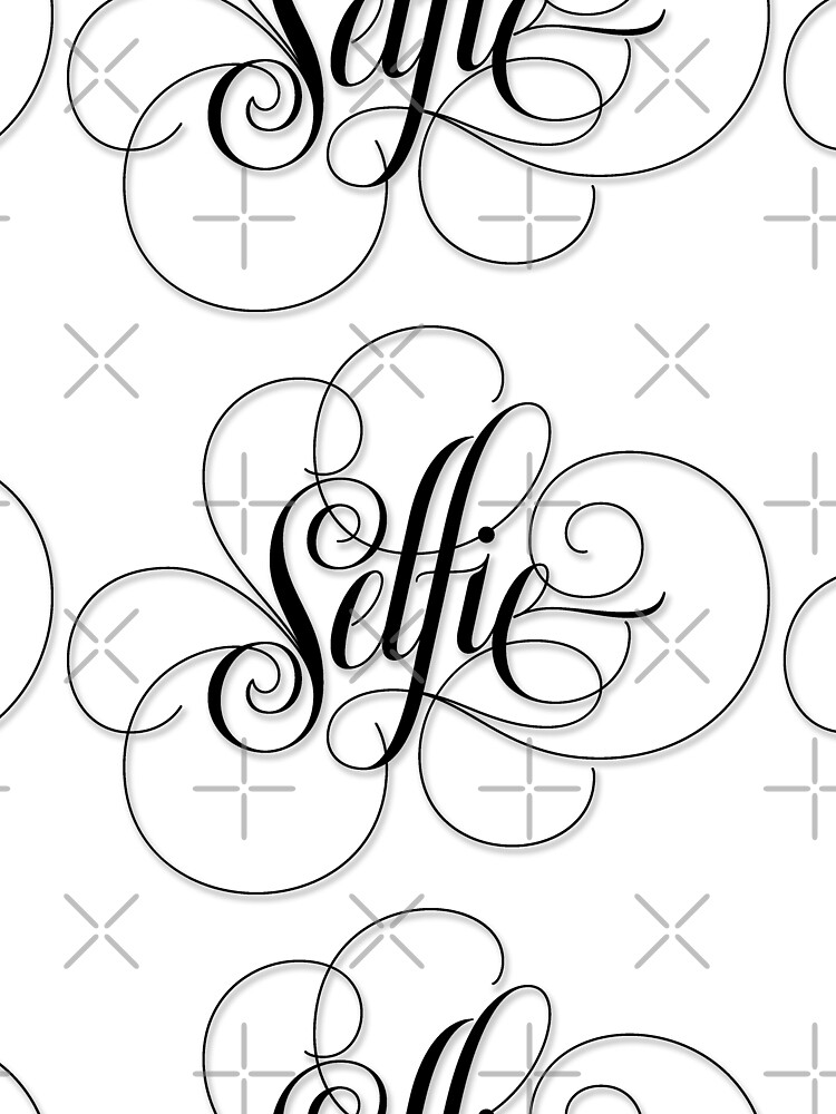 Elegantly Flourished Calligraphy Hand Lettering 'Selfie' Black on White Lettering by 26-Characters