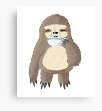 Sloffee Break, Sloth Drinking Coffee Illustration Canvas Print