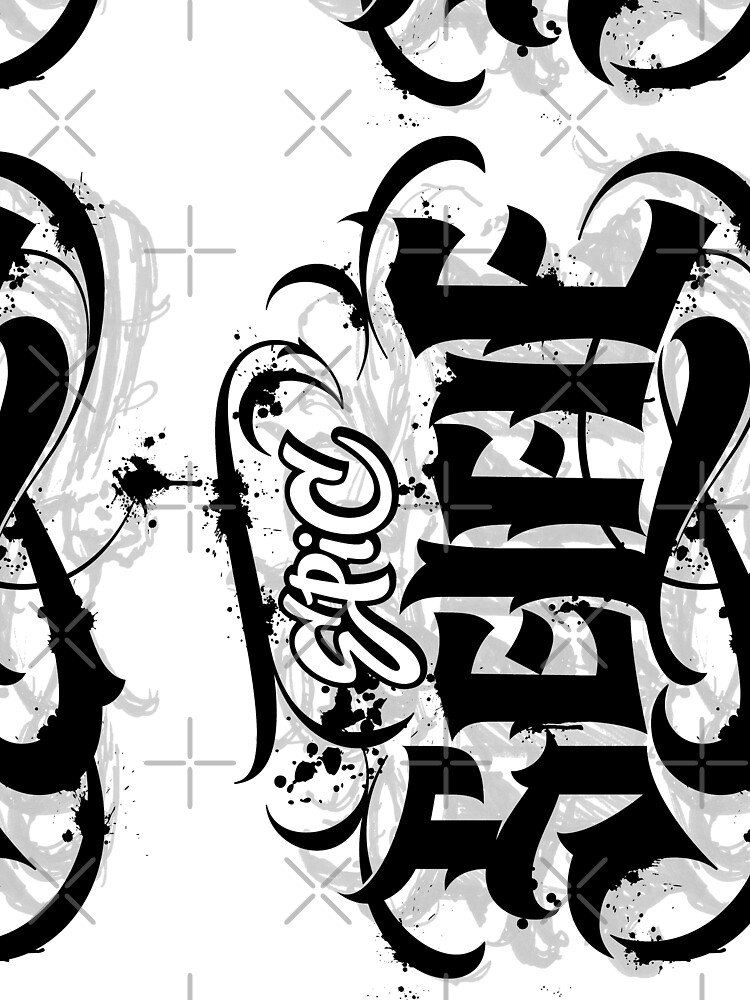 'Epic Selfie' Black Goth Grunge Tattoo Hand Lettering Calligraphy by 26-Characters