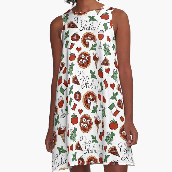 Viva Italia Pattern A-Linien Kleid