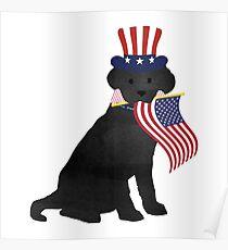 Preppy Patriotic Black Lab Poster