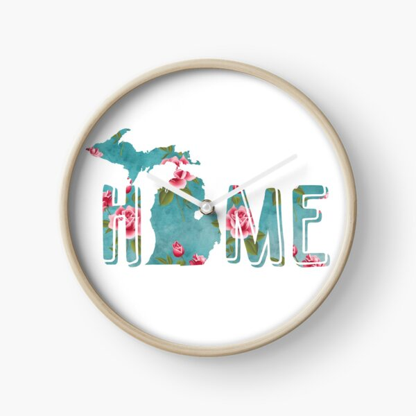 Michigan is Home Shabby Roses Pattern Clock