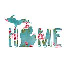 Michigan is Home Shabby Roses Pattern by Cherie Balowski