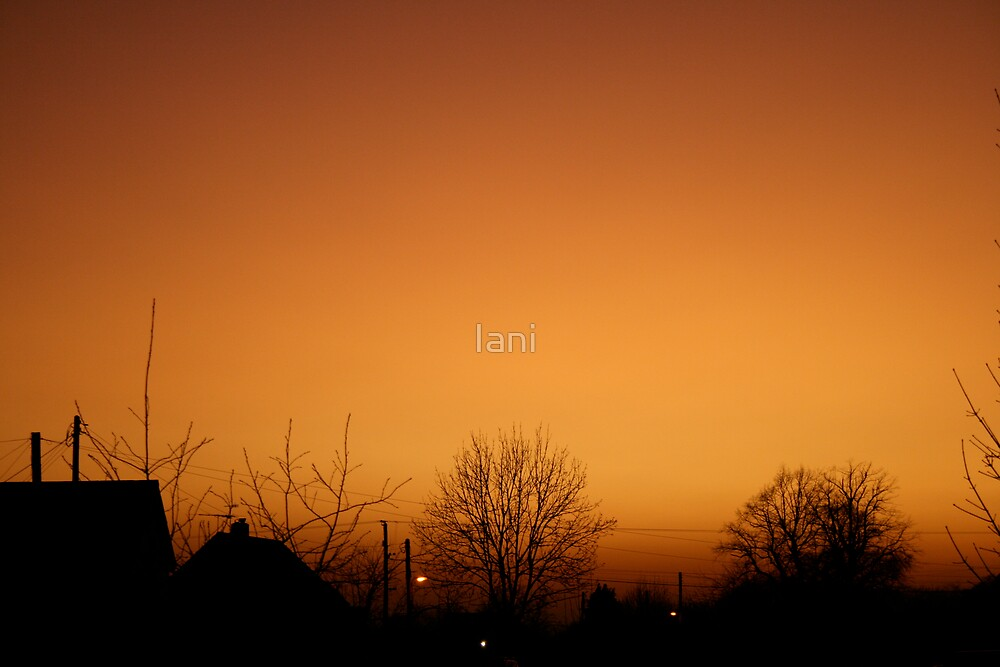 sunset over village by Iani