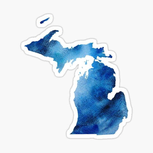 Michigan Blue Watercolor Silhouette Sticker