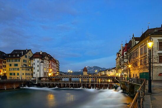 Luzern old historic center night view, highlighted buildings and reflections in the water by Alexander Sorokopud
