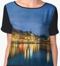 Luzern old historic center night view, highlighted buildings and reflections in the water Chiffon Top