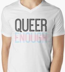 Trans pride - QUEER ENOUGH Mens V-Neck T-Shirt