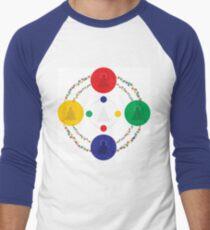 Minimalist Mandala of the 5 Buddhas Print Men's Baseball ¾ T-Shirt