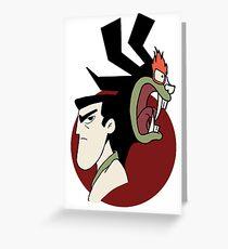Samurai Jack and Aku - Red Greeting Card