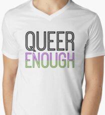 Genderqueer Pride - QUEER ENOUGH Mens V-Neck T-Shirt