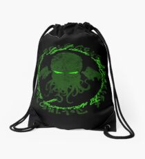 In his house at R'lyeh dead Cthulhu waits dreaming GREEN Drawstring Bag