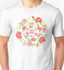 Bouquet of RED and PINK rose - wreath Unisex T-Shirt