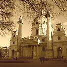 Karlskirche, Vienna in sepia by AngelaClaire