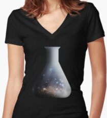 Galaxy in a beaker Women's Fitted V-Neck T-Shirt