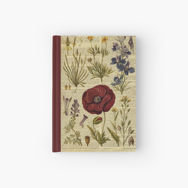 Botanical print, on old book page - flowers Hardcover Journal