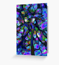 Stained glass abstract tree Greeting Card