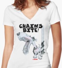 Chains Bite - Dogs Deserve Better Women's Fitted V-Neck T-Shirt