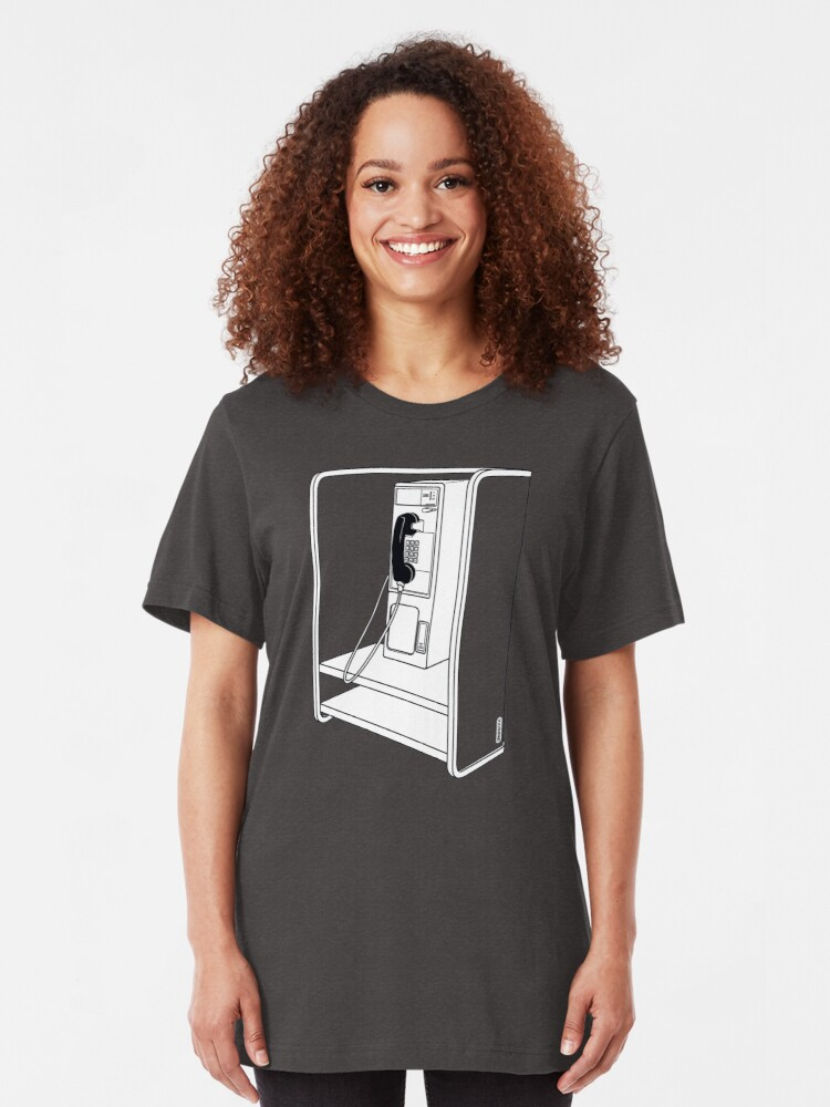 Alternate view of Old School Phone Booth Slim Fit T-Shirt
