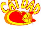Cat Dad Orange Yellow Red Cute Cat Lover Design by theartofvikki