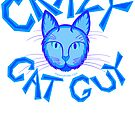 Crazy Cat Guy Funny Blue Cartoon Cat Lover Design by theartofvikki