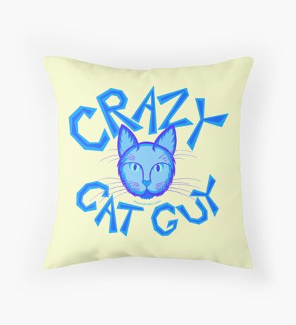 Crazy Cat Guy Funny Blue Cartoon Cat Lover Design Throw Pillow