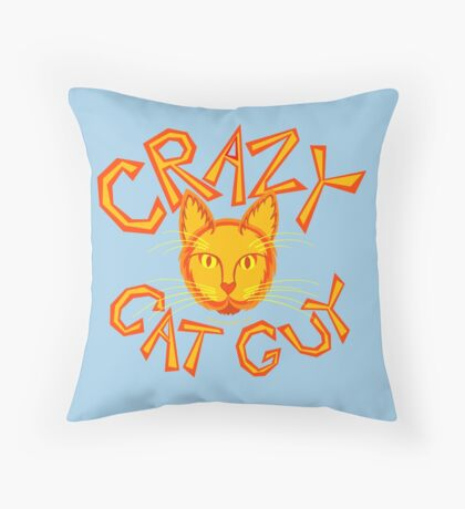 Crazy Cat Guy In Orange Cat Lover Design Throw Pillow