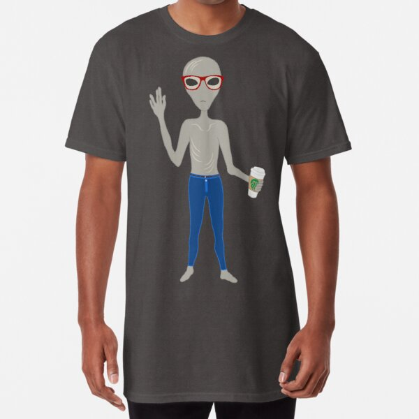Alien Hipster In Skinny Jeans With Coffee Long T-Shirt