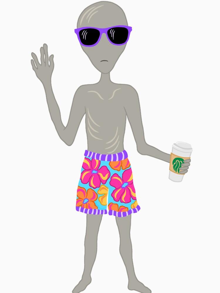 Awkward Alien Surfer With Coffee by theartofvikki