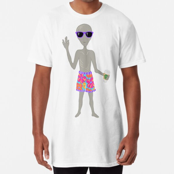 Awkward Alien Surfer With Coffee Long T-Shirt