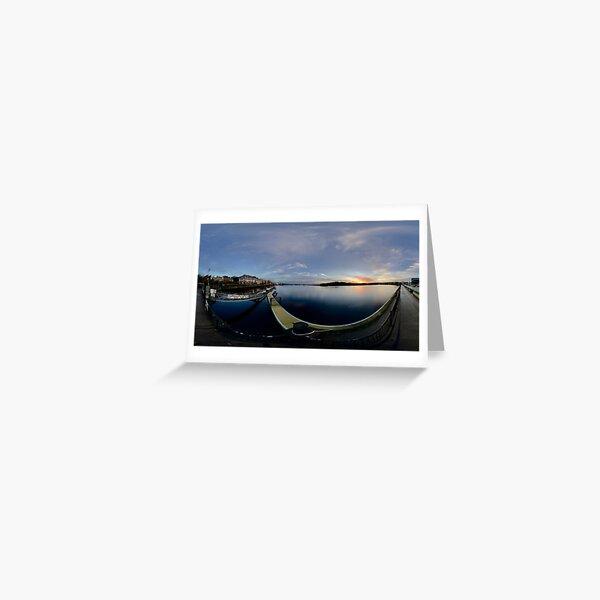Dawn Calm at Foyle Marina, Derry, N.Ireland Greeting Card