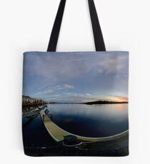 Dawn Calm at Foyle Marina, Derry, N.Ireland Tote Bag