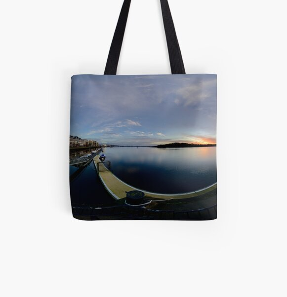 Dawn Calm at Foyle Marina, Derry, N.Ireland All Over Print Tote Bag