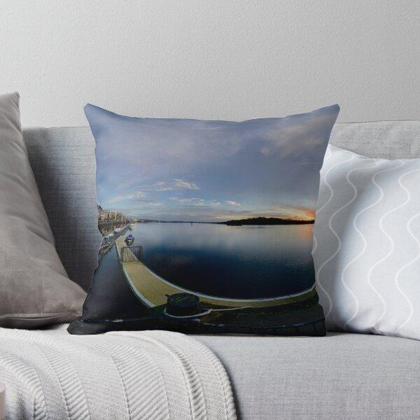 Dawn Calm at Foyle Marina, Derry, N.Ireland Throw Pillow