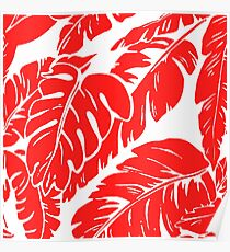 PALM LEAF RED TROPICAL PATTERN Poster
