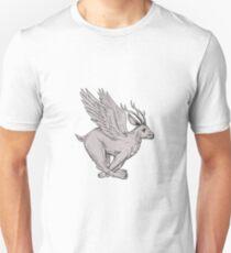 Wolpertinger Running Side Drawing Unisex T-Shirt