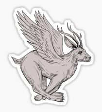 Wolpertinger Running Side Drawing Sticker