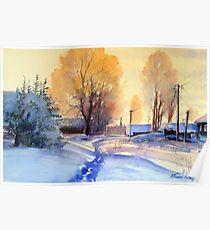 Winter light. Village. Russia Poster