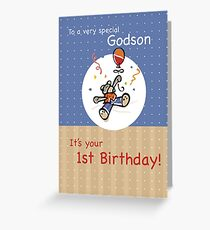 Godson 1st Teddy Bear Balloon Birthday Greeting Card