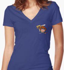 Pocket Sora Women's Fitted V-Neck T-Shirt