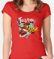 Talespin, Baloo Logo Plane Women's Fitted Scoop T-Shirt