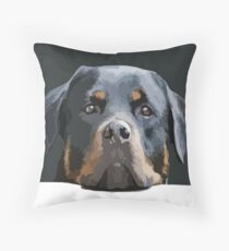 Rottweiler Portrait Vector Throw Pillow