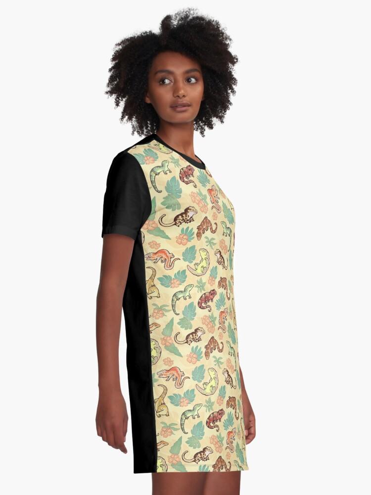 Vista alternativa de Vestido camiseta Familia Gecko en amarillo