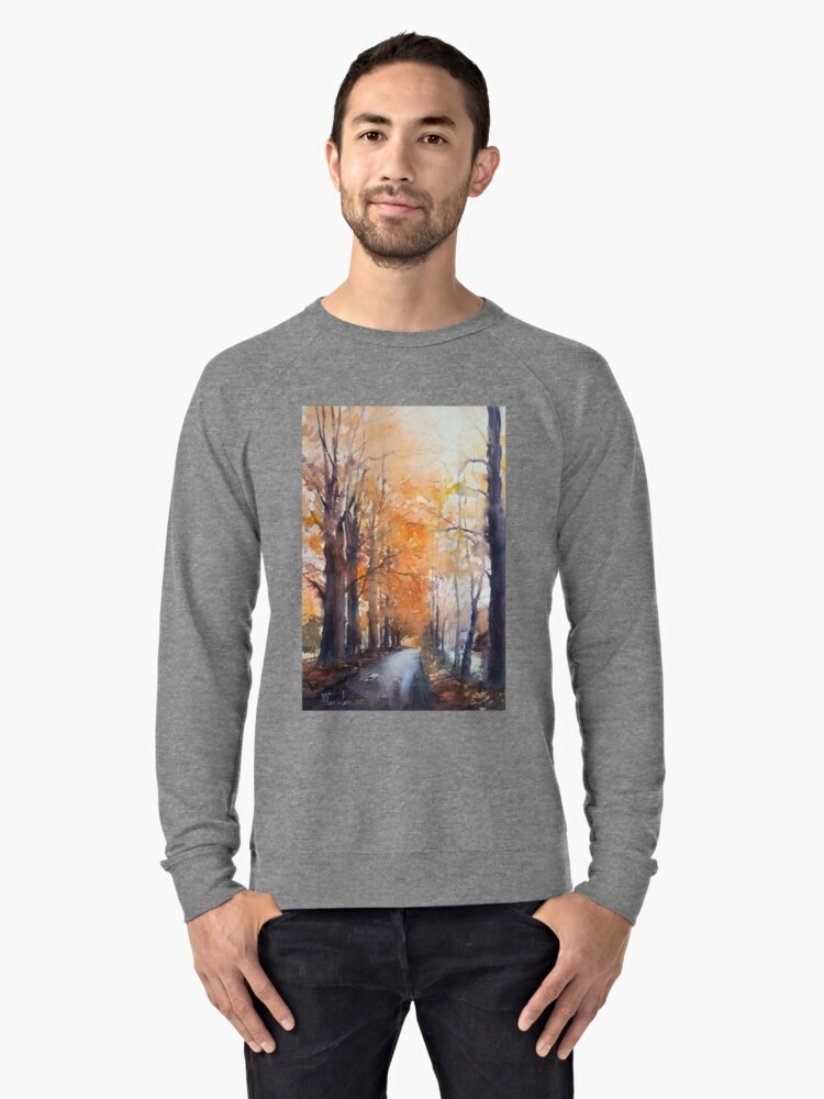 Falling leaves in the alley Lightweight Sweatshirt Front
